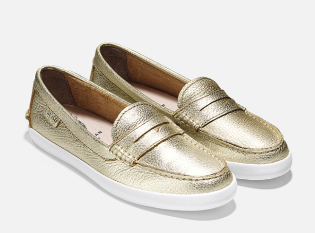 d84901f40f8 NEW Cole Haan Women Sz 6 Pinch Leather Weekender Penny Loafer Soft Gold  Metallic