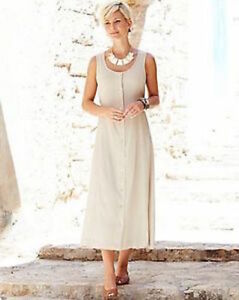 Anthology-Stone-beige-Plain-Crinkle-Dress-plus-size-26-new-with-tags