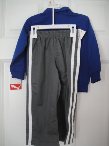 PUMA NWT 2PC  Boys Track Suit Jacket Pant Top Warm Up Blue Gray Zip 2 2T 3 3T
