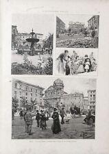 Stampa antica ROMA vedute di Piazza Cairoli giardini 1891 Old print Rome