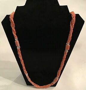 Gorgeous-Fortunoff-5-Strand-Natural-Pink-White-Salmon-Red-Coral-Pearl-Necklace