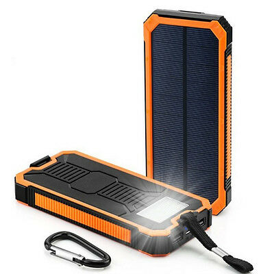 Solar PowerBank 8000mAh Portable Panel Charger/Battery with Dual USB+Flashlight