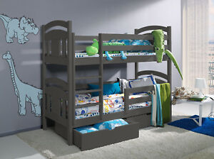 GREY-WHITE-PINE-BLUE-WOODEN-Bunk-Bed-with-Mattresses-amp-Storage-NEW-BRAVO