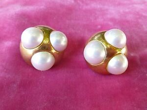 94ca4ff2ca8a9 Details about PALOMA PICASSO FOR TIFFANY 18K GOLD AND TRIPLE MABE PEARL  EARRINGS
