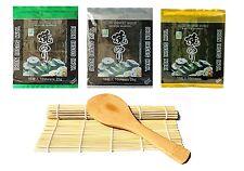 Sushi Rollo Mate bambú + Cuchara arroz + 3x 10 Nori Hojas Test sushiset