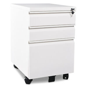 Devaise 3 Drawer Metal File Cabinet Nightstand With Lock