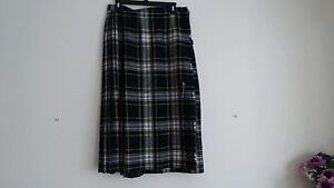 EUC SIZE 16 PLAID CHECK WOOL SCOTTISH PLEATED SKIRT BY SMITH'S BERMUDA