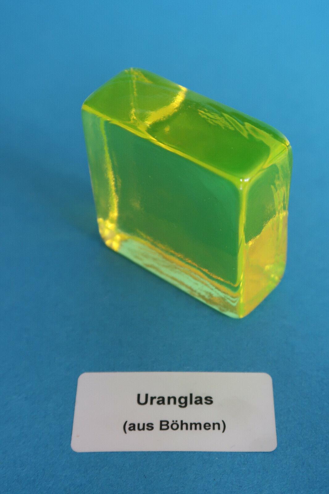 Uranglas Block 100 Gramm Uranium glass Prüfstrahler Geigerzähler 50x50 mm