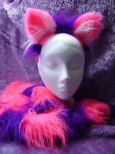 The Cheshire Cat Fancy Dress Ears And Tail Set Bright Pink & Purple Cat Costume