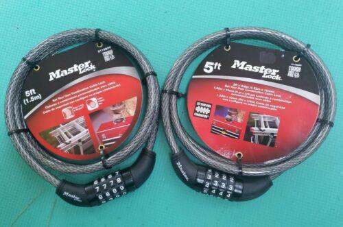 2 Master Lock 5ft Combination Cable Locks 8119DPF BRAND NEW ~ COMBO LOCK