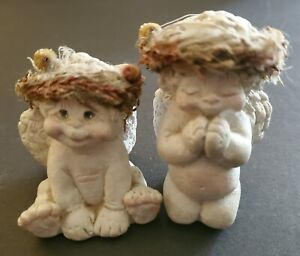 TWO Vintage Signed 1994 Dreamsicles Praying Angel and Kristin's Littlest Angel