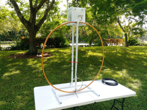 33 FT Low Loss Coax COMBO High Power Multiband Magnetic Loop Antenna 10-60 Mts