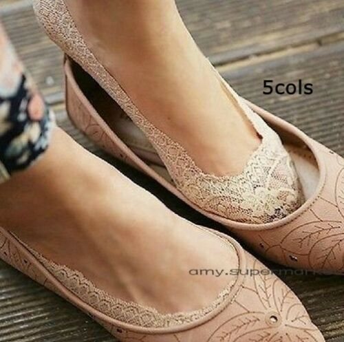 Women Lace Liner Socks No Show Peds Low Cut Sock Ballet Plain Boat sock Non slip