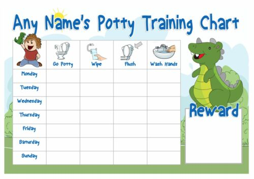 A4 Personalised Potty Training Chart Dinosaur Design