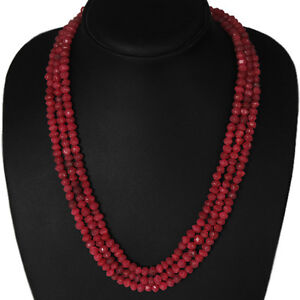 TOP-GRADE-SELLING-311-00-CTS-NATURAL-FACETED-3-STRAND-RED-RUBY-BEADS-NECKLACE