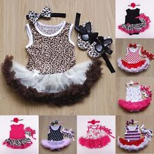 3pcs Baby Clothing Set Girl Kids TUTU dress+Headband+baby shoes Outfit newborn
