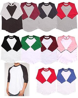 New 3/4 Sleeve S-2XL Plain BaseBall T-Shirts Raglan Jersey Tee New Men's Women's