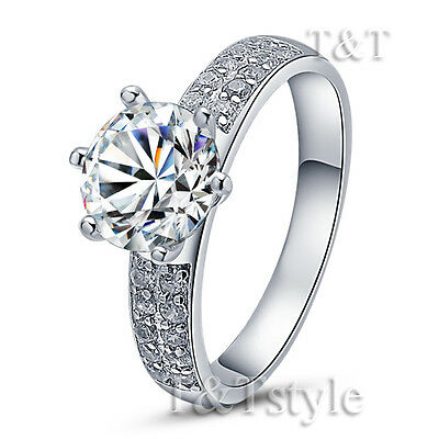 TTstyle RHODIUM 925 Sterling Silver Two Row Engagement Band Ring