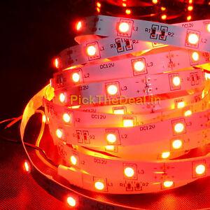 Red-5-meter-LED-smd-STRIP-light-5050-60-led-meter-12V-DC-Driver-1A-free