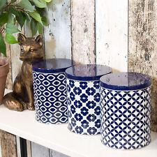 Set of 3 Blue & White Food Storage Canisters Jars Tea Coffee Sugar Rice Pasta