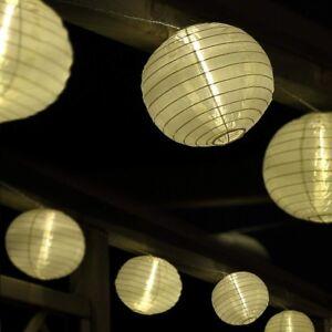 lampion lichterkette mit 25 gro en led lampions 15cm wei f r garten au en ebay. Black Bedroom Furniture Sets. Home Design Ideas