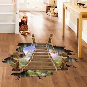 3D-Wooden-Bridge-Living-Room-Bedroom-Animals-Floor-Home-Background-Wall-Decor