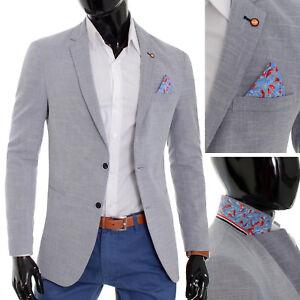 Mens-Blazer-Jacket-Casual-Formal-Steel-Blue-UK-Size-Soft-Cotton-Regular-Size