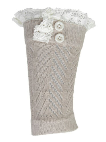 Women/'s Lace Buttons Knitted Boot Toppers Leg Cuffs Warmers Socks