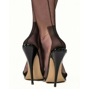 3efe70a13 GIO FF Fully Fashioned Havana Heel Seamed Nylon Stockings Black 8.5 ...