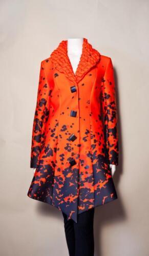 SAMUEL DONG COAT 17072 Uneven Hemline Orange