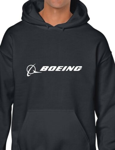 Boeing White Logo US Aviation Jet 747 787 Black Hoodie Hooded Sweatshirt