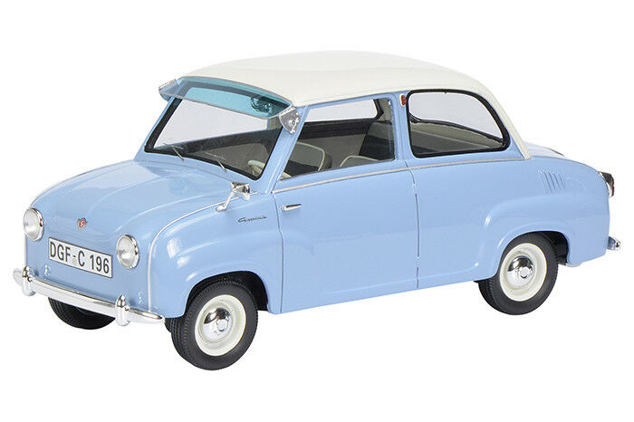 Schuco 1/18 Goggomobil Limousine Light blu Resin Car Model 450009600