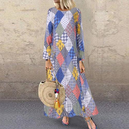 ZANZEA Women Crew Neck Floral Print Long Shirt Dress Midi Dress Kaftan Tops Plus