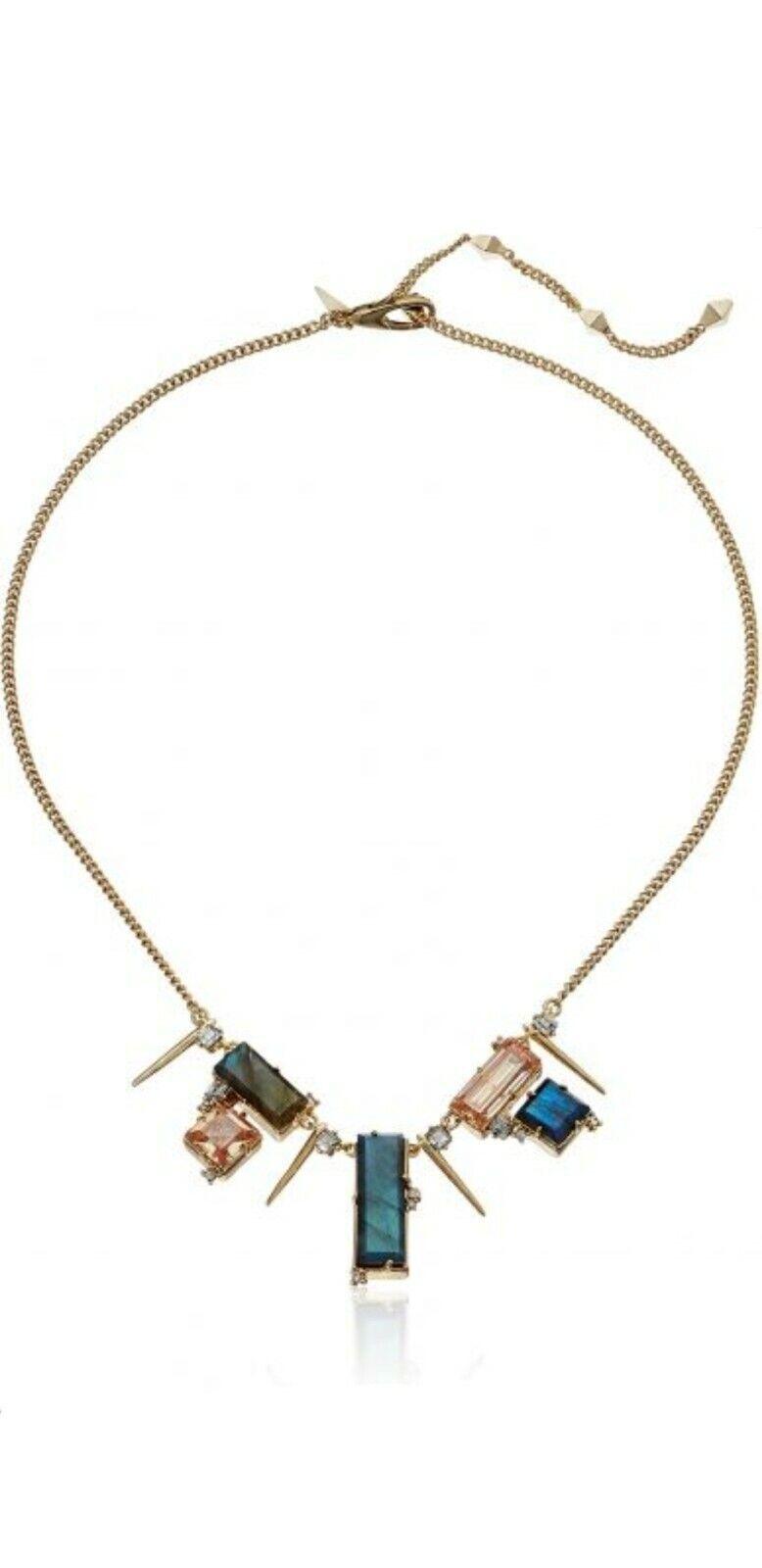 Alexis Bittar 10k Gold Plated Multi-stone Geometric Spike Bib Necklace