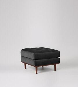 Swoon Berlin Living Room Modern Black Handcrafted Easy Velvet Ottoman - RRP £399