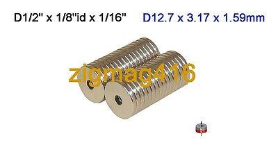 "25 pcs of N52, D1/2"" x 1/8""id x1/16"" thick Rare Earth Neodymium Ring Magnets"