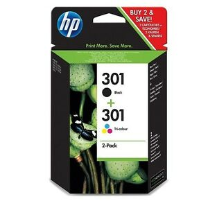 2-CARTUCHOS-NEGRO-COLOR-TINTA-HP-301-ORIGINAL-IMPRESORA-1000-1050-2050-3000