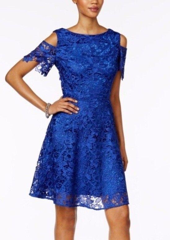 Tahari 7120M160 Cobalt Blau Lace Cold-Shoulder A-Line Fit & Flare Cocktail Dress