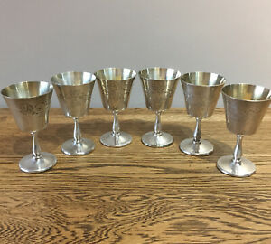 Vintage-Silver-Plated-Goblets-X6-Made-In-England-Floral-Engraving-10-75-Cm
