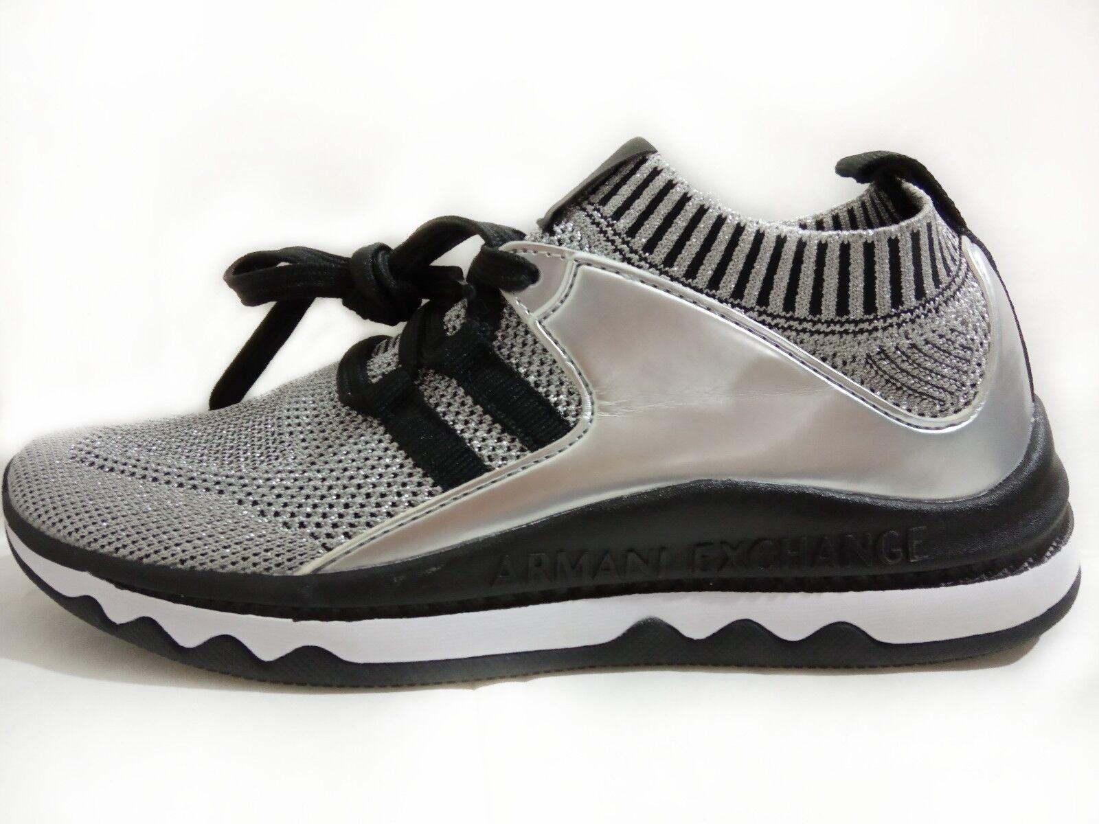 Armani Exchange Para mujeres Zapatos Lurex Sport Sport Sport Knit LOW TOP zapatillas nwtwob de Plata 36  ¡envío gratis!