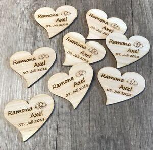 25 Streudeko Holz Herz Tischdeko Braut Brautigam Name Datum