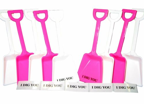 12 Mix Pink White Toy Shovels /& I Dig You Stickers Made in USA Lead Free No BPA*