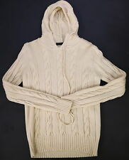 * VERONIQUE BRANQUINHO * Cream Cableknit Wool Hooded Hoodie Sweater 36/Small