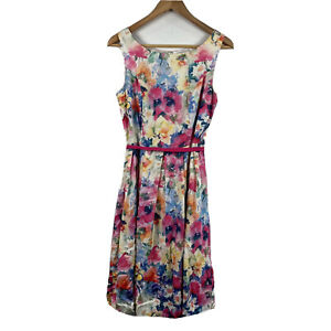 Diana-Ferrari-Womens-Dress-Floral-Multi-Coloured-Size-8-With-Belt
