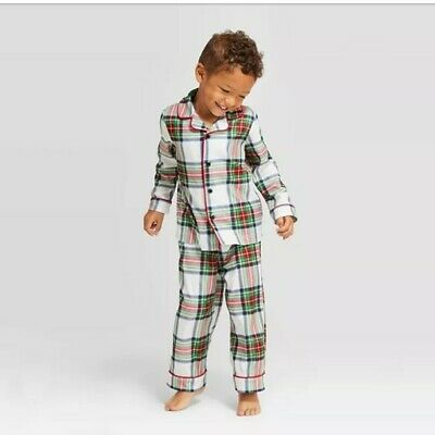 Wondershop Kid/'s Plaid Holiday White Tartan Pajama Set Size 12