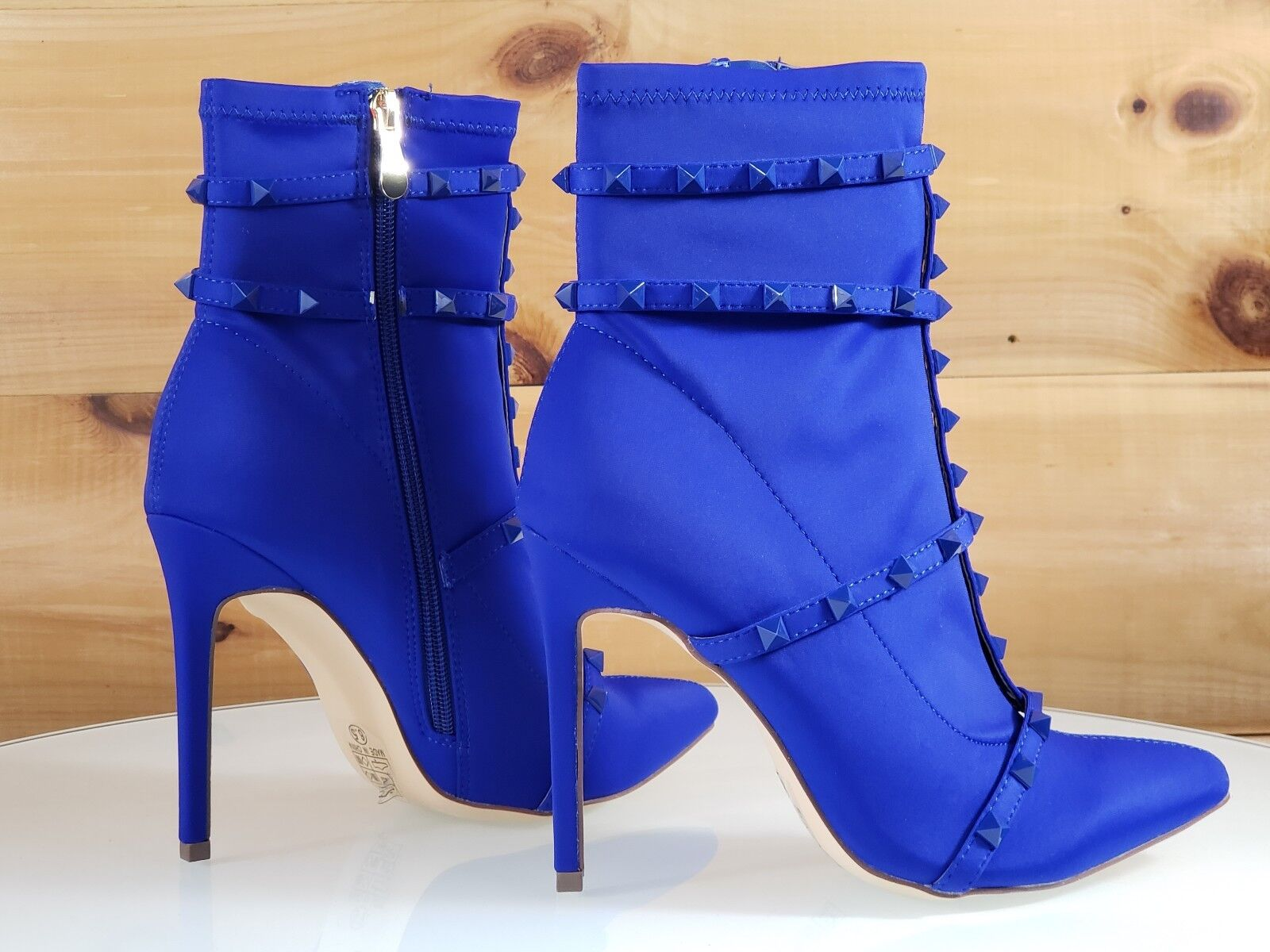 So Me High Billie Blau Pointy Toe High Me Heel Ankle Boot Cage Studded Straps 6.5-11 ed89cd