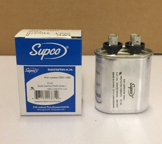 SUPCO CR5X440 Oval Run Capacitor 5 MFD 440 V