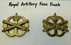 WWII-British-Canadian-Army-Royal-Artillery-Fuse-Pouch-Badge-Pins