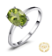 Genuine 925 Sterling Silver 1.4Ct Oval Cut Natural Peridot Solitaire Ring