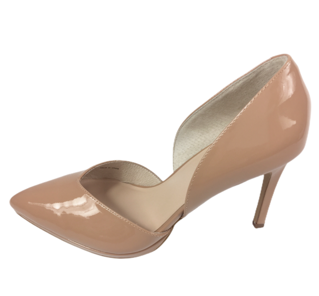 Zign Womens Nude Patent Leather High Heel Pointed Toe Court Shoes Size UK 8 New